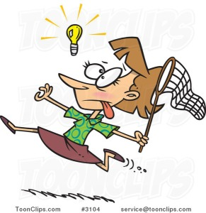 cartoon-business-woman-chasing-an-elusive-idea-with-a-net-by-ron-leishman-3104